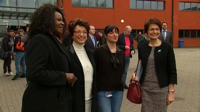 testMarianne Thyssen et le Federal Truck Erasmus+ en visite à Wavre