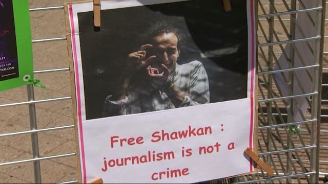 testUn flash mob pour dénoncer la situation de la presse en Egypte