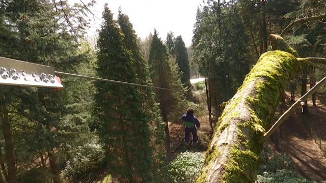 Nouvelle attraction de l'Aventure Parc, une tyrolienne à 17 mètres de haut