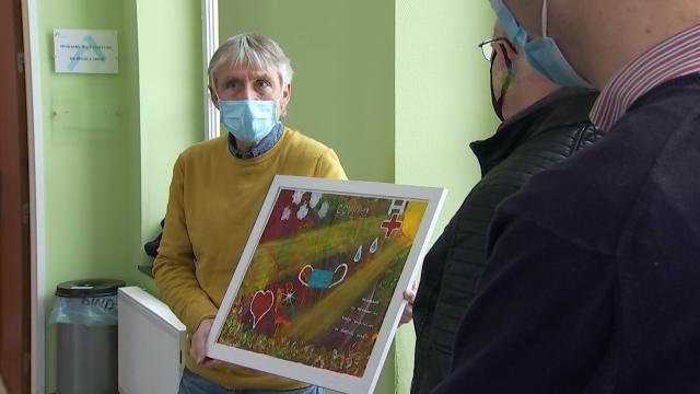 Une toile pour remercier le personnel soignant de l'hôpital de Nivelles