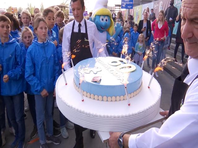 Deux classes du Brabant wallon participent à l'anniversaire des Schtroumpfs à Brussels Expo