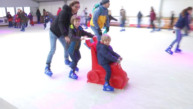 Les joies de la glisse à Jodoigne sur glace